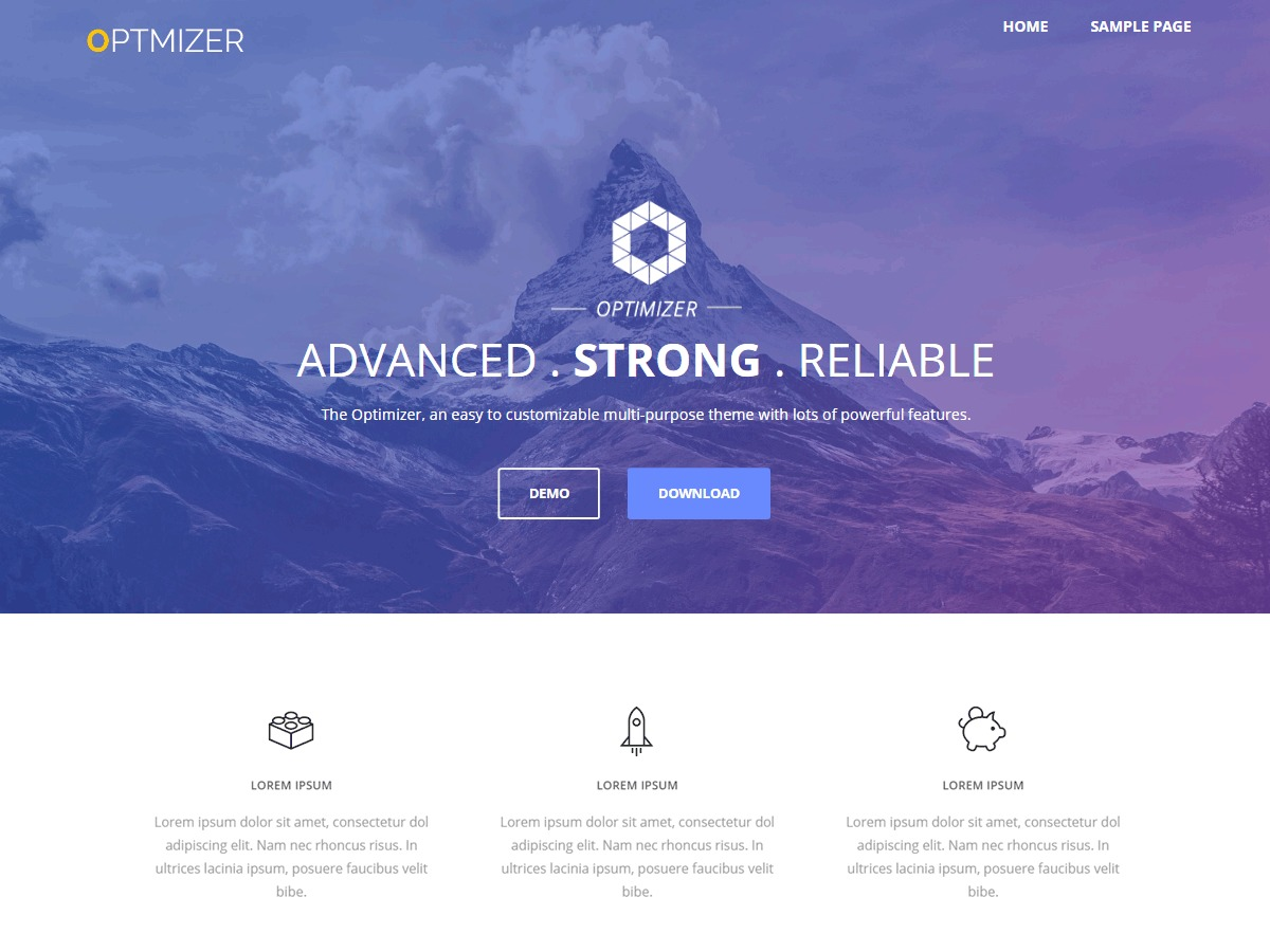 Optimizer PRO personal WordPress theme