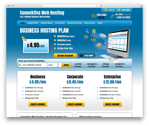 PHP Hosting best WordPress template - connektiva.com