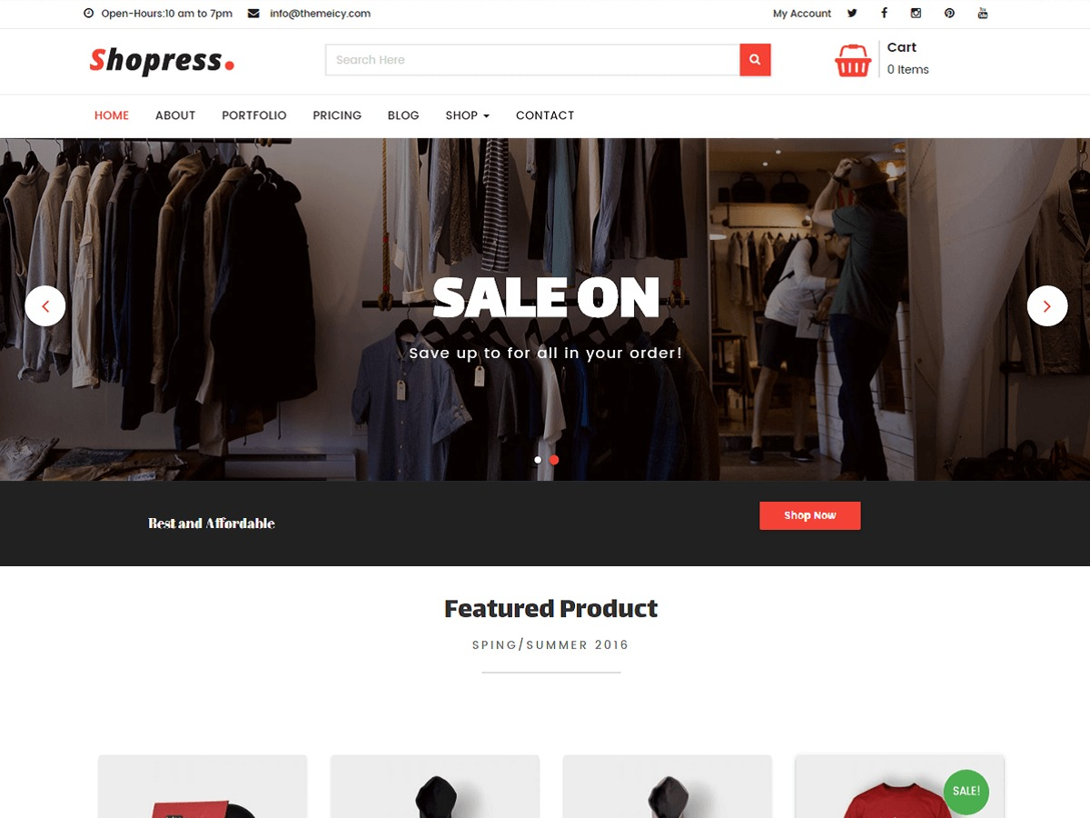 Shopress WordPress ecommerce template