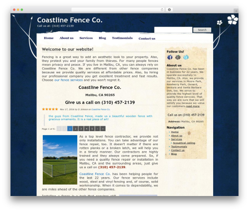 Pretty Parchment WordPress template for business - coastlinefence.com