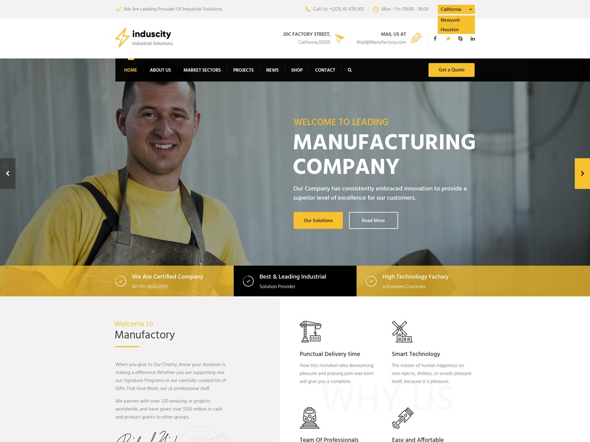 Induscity WordPress template for business