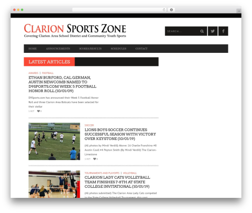 Bucket WordPress page template - clarionsportszone.com