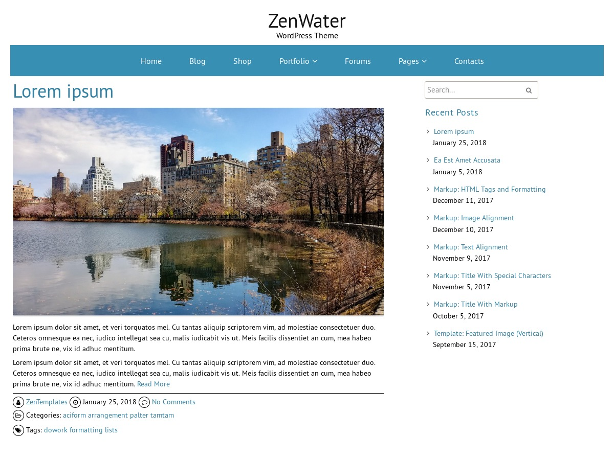 ZenWater WordPress template
