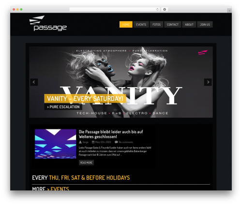 Clubber WordPress template - club-passage.at