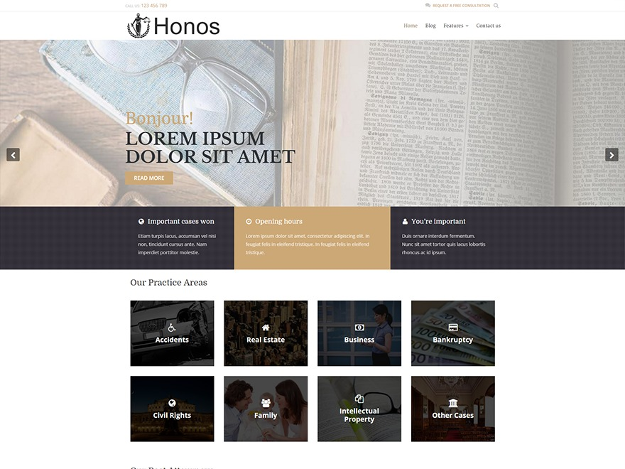 Honos WordPress template free