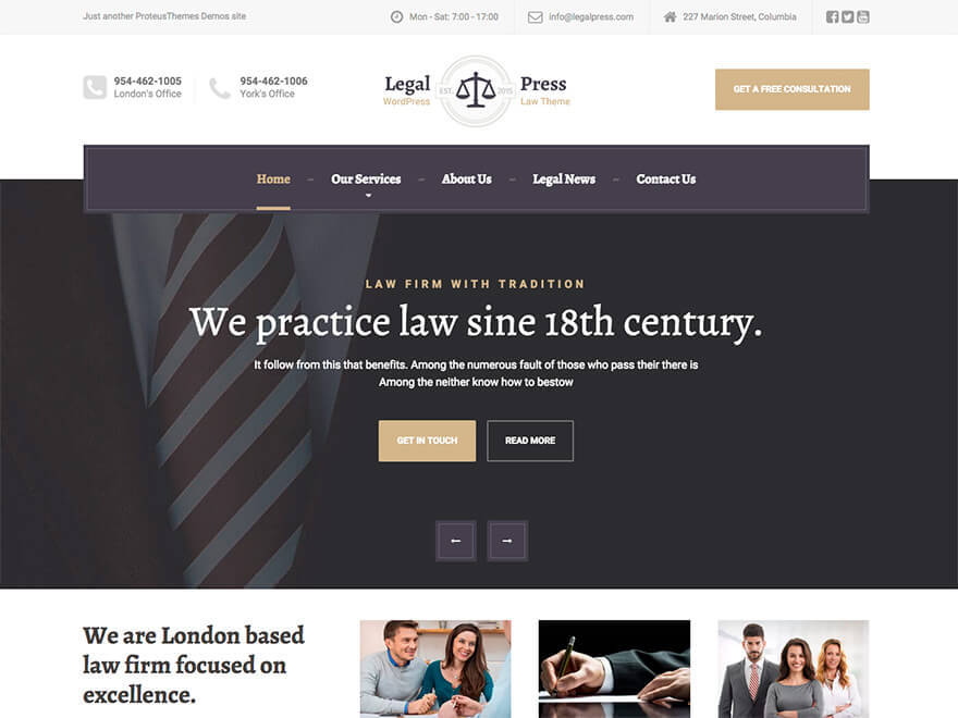 LegalPress by ProteusThemes WordPress page template