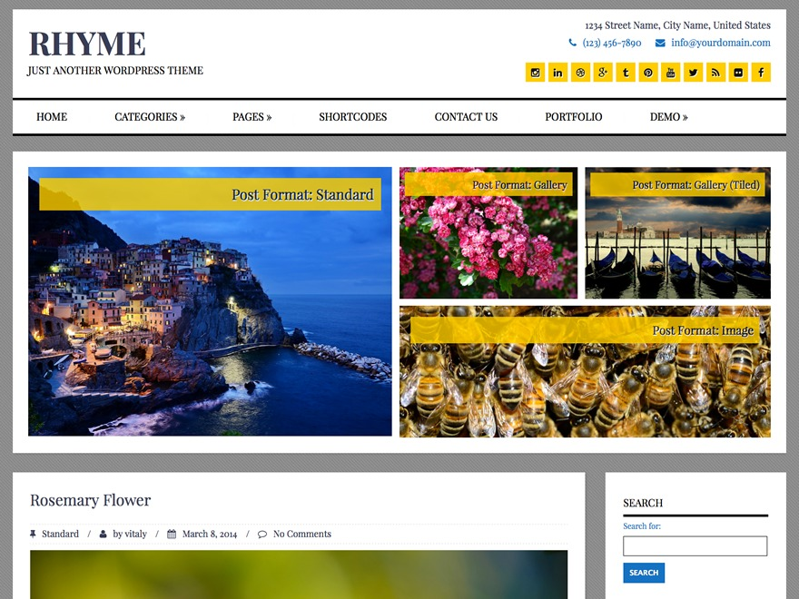 Rhyme WordPress theme design