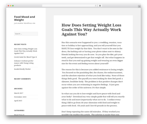 Twenty Fifteen free WP theme - foodmoodandweight.com