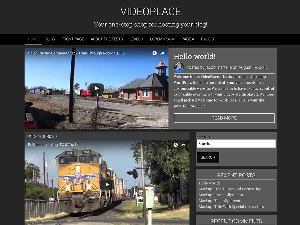 VideoPlace free WordPress theme