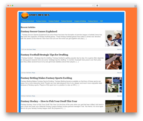 WP-DaVinci WordPress website template - fantasysportinfo.net