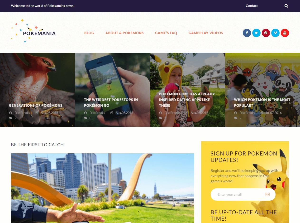 pokemania WordPress theme design