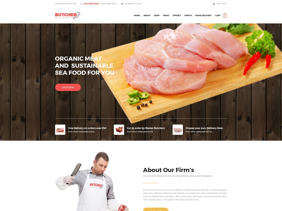 WordPress website template Butcher