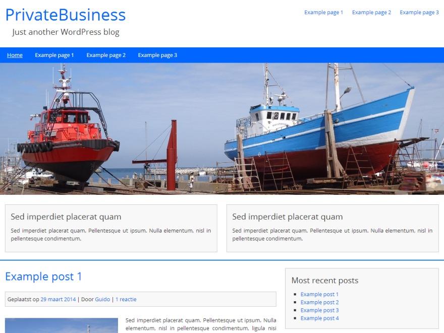 PrivateBusiness Child company WordPress theme