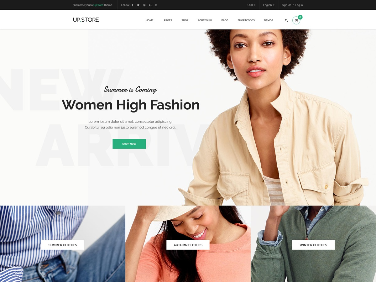 UpStore WordPress ecommerce template