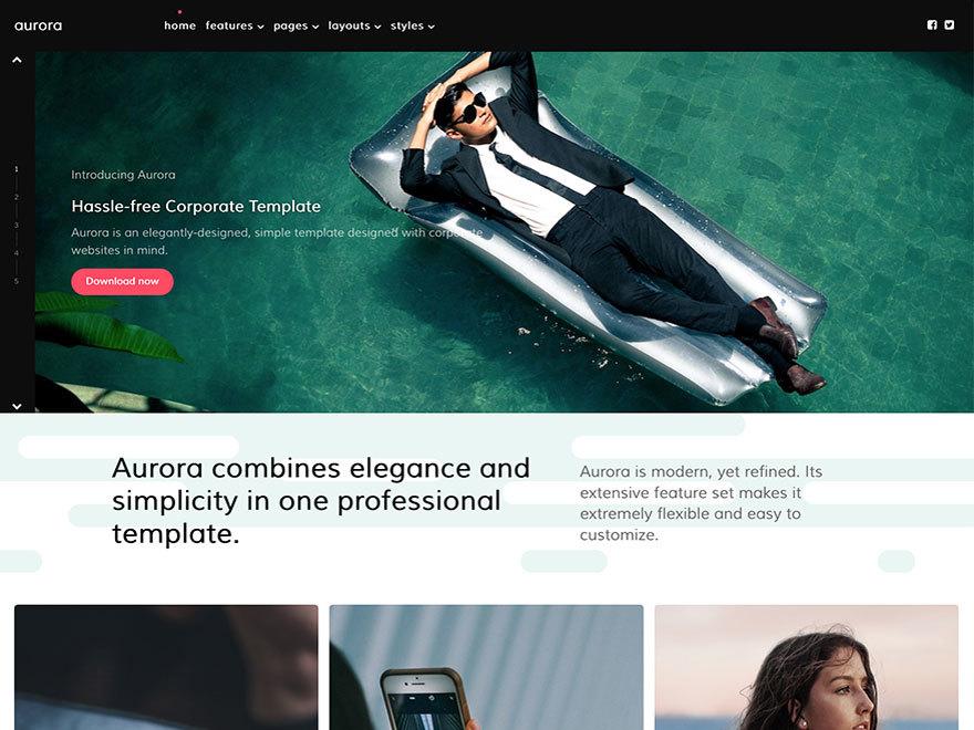 Aurora WordPress theme design
