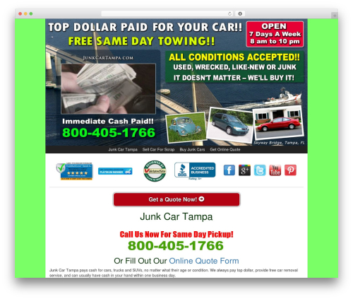 Kelly Car Buyer 1.0 WordPress theme - junkcartampa.com