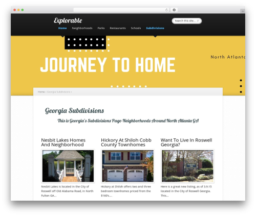 Explorable WordPress theme design - journeytohome.com