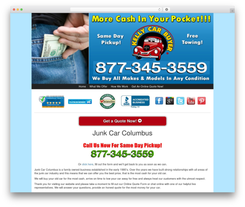 Kelly Car Buyer 1.0 WP template - junkcarcolumbus.com