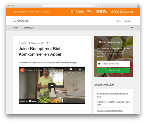 Marketers Delight WordPress blog theme - juicing.nl
