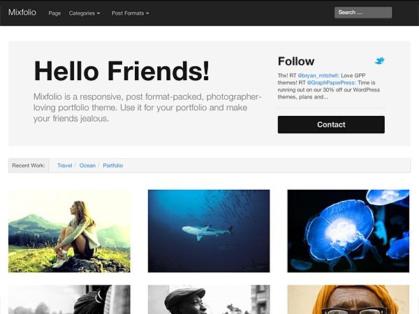 Mixfolio personal WordPress theme