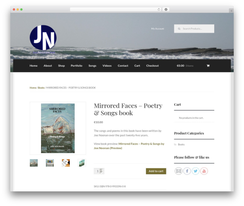 WordPress theme Boutique - joenoonan.net/?product=mirrored-faces-poetry-songs-book