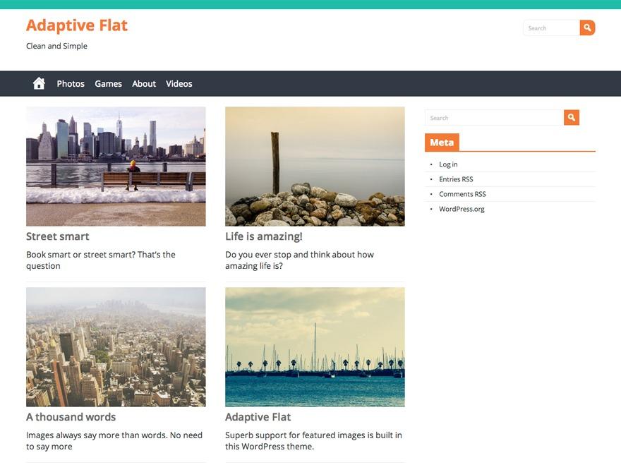 Adaptive Flat WordPress blog template
