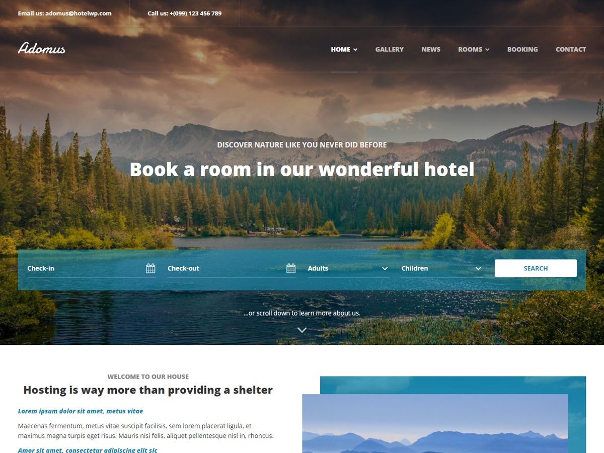Adomus best hotel WordPress theme