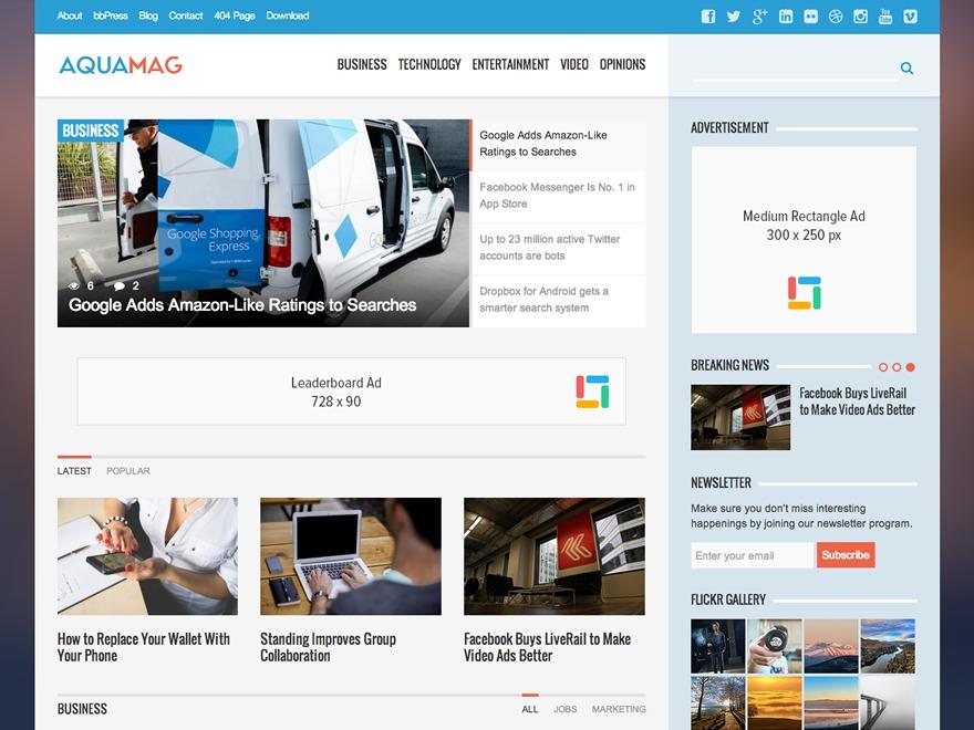 AquaMag newspaper WordPress theme
