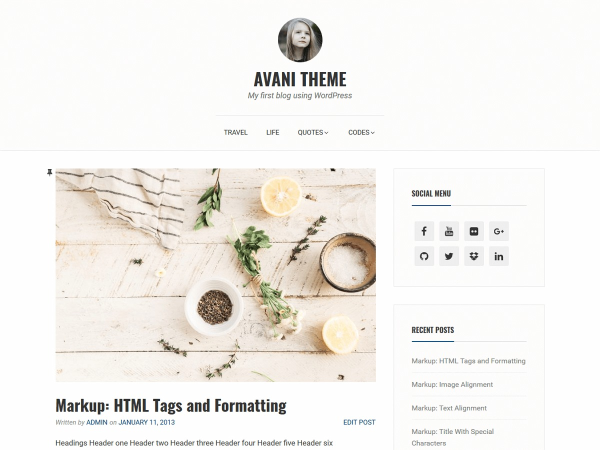 Avani WordPress template free download