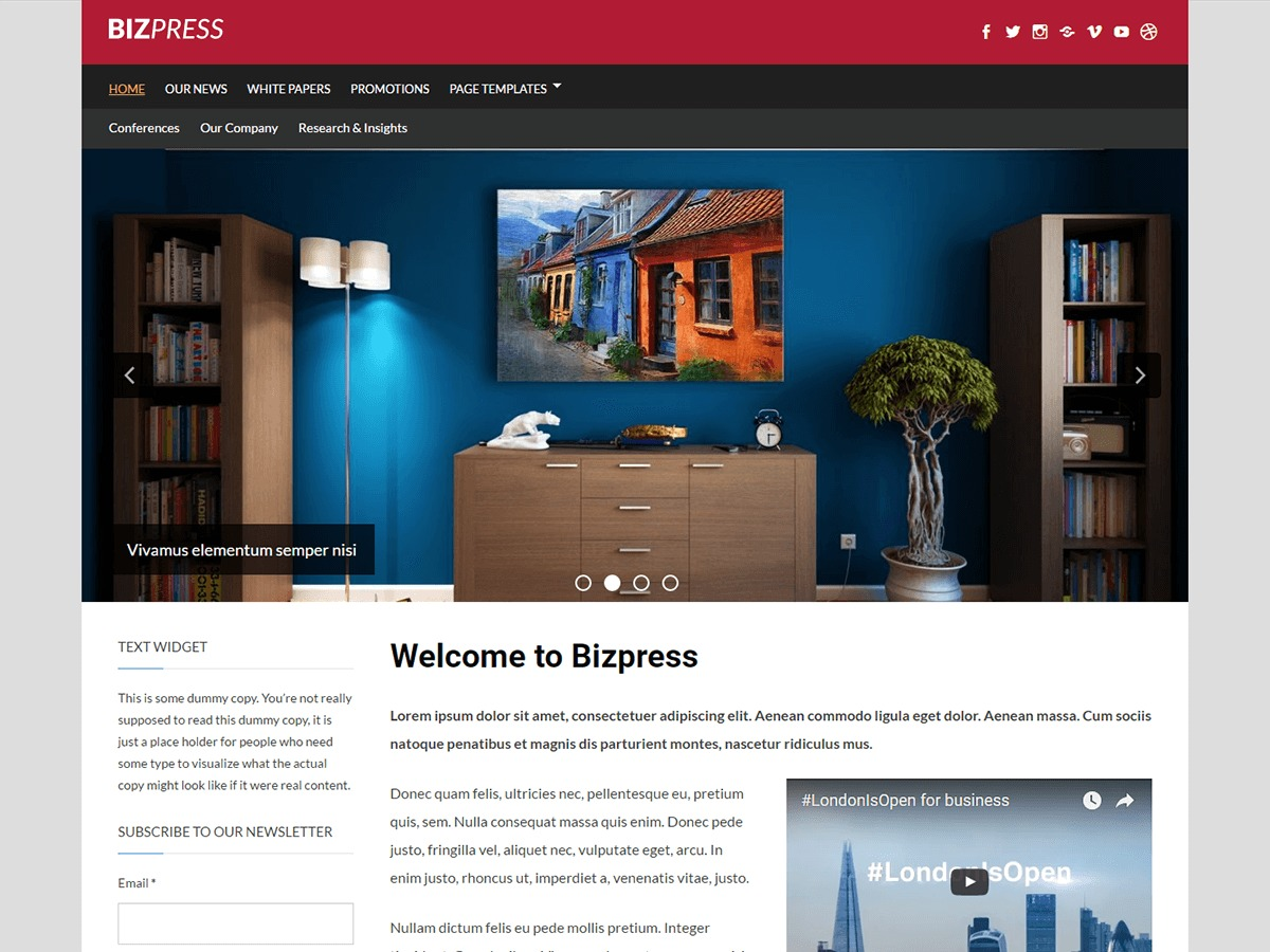 BizPress free website theme
