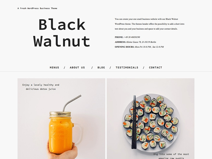 Black Walnut best restaurant WordPress theme