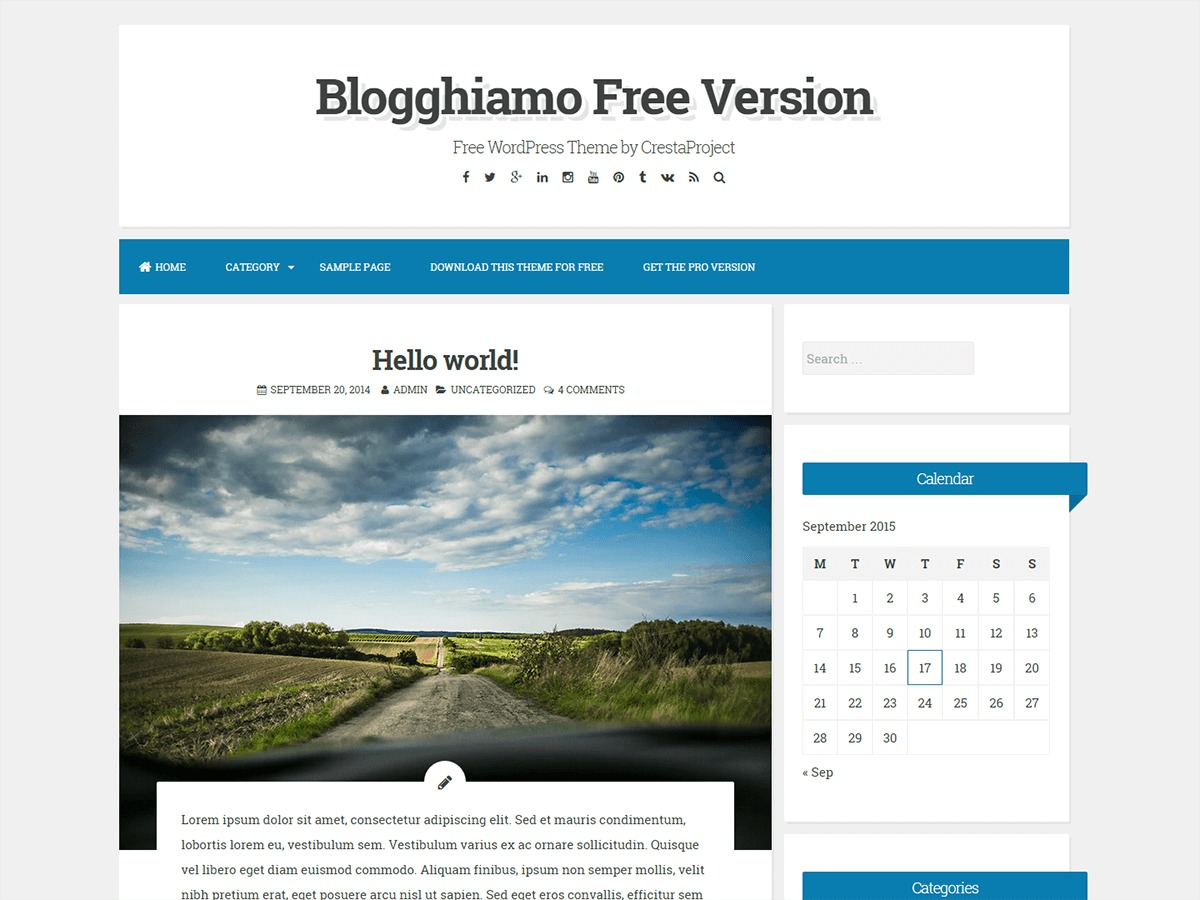 Blogghiamo best free WordPress theme