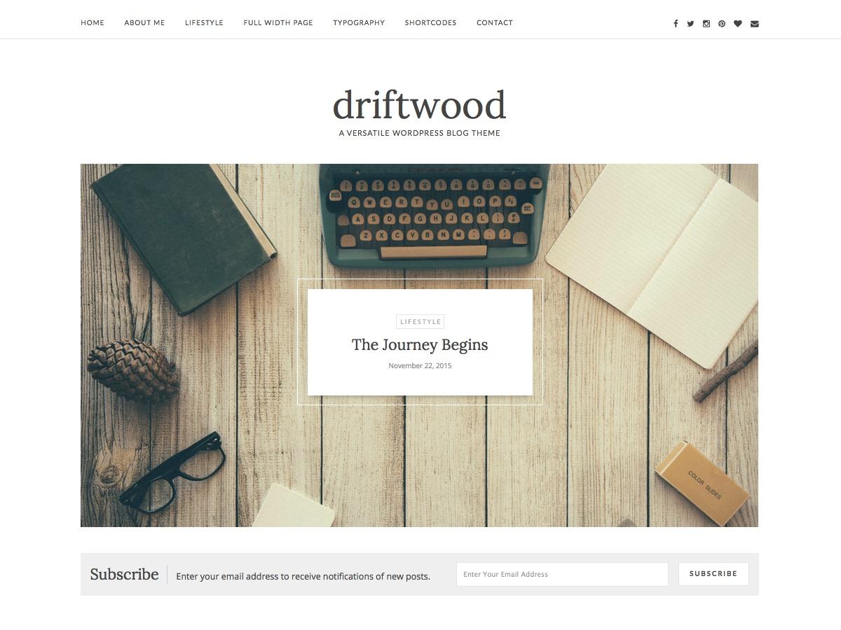 driftwood WordPress blog theme