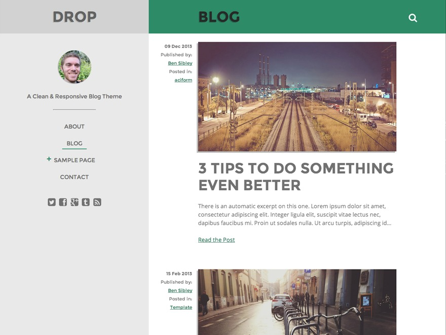 Drop WordPress blog theme