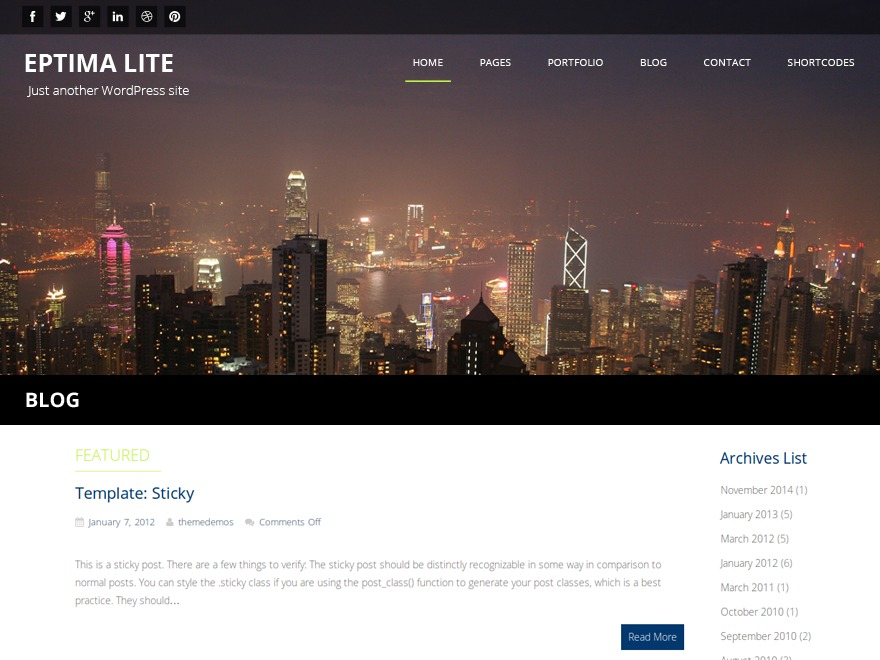 Eptima Lite company WordPress theme