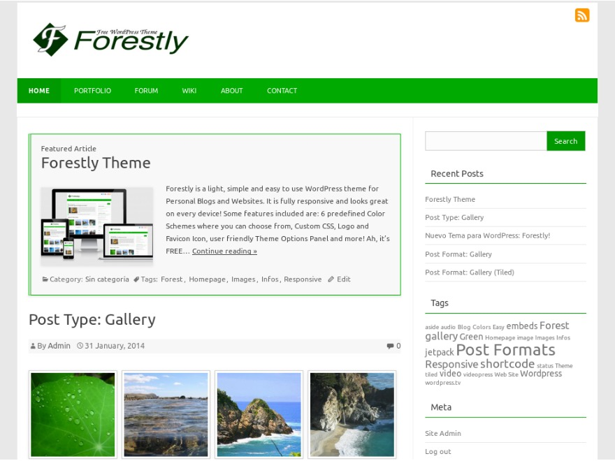 Forestly WordPress blog template