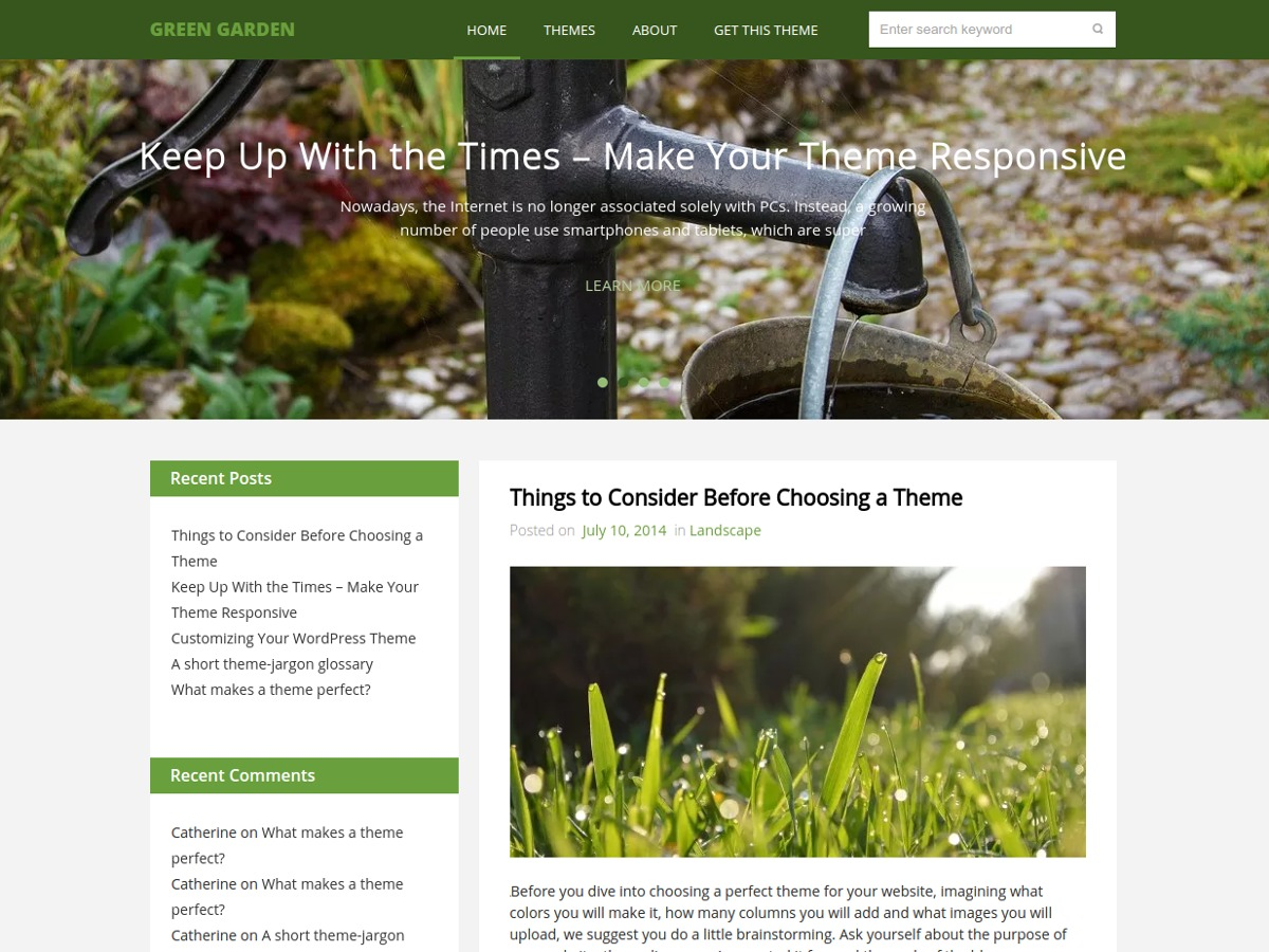 Green Garden best free WordPress theme
