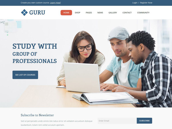 Guru WordPress ecommerce template