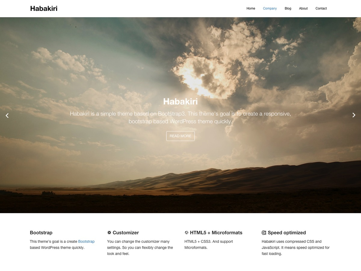 habakiri best free WordPress theme