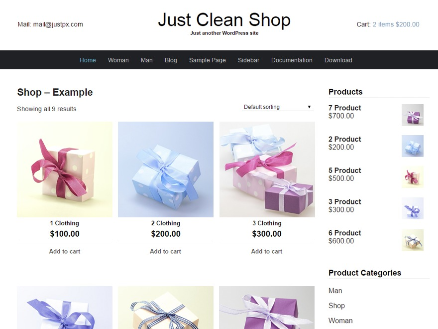 Just Clean Shop company WordPress theme