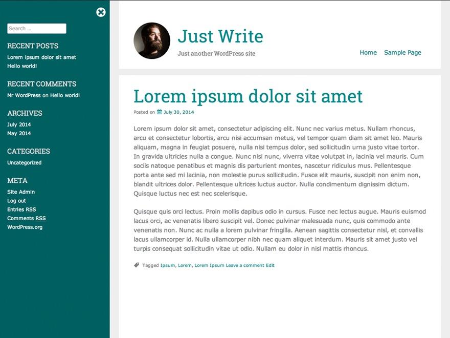 Just Write WordPress blog theme