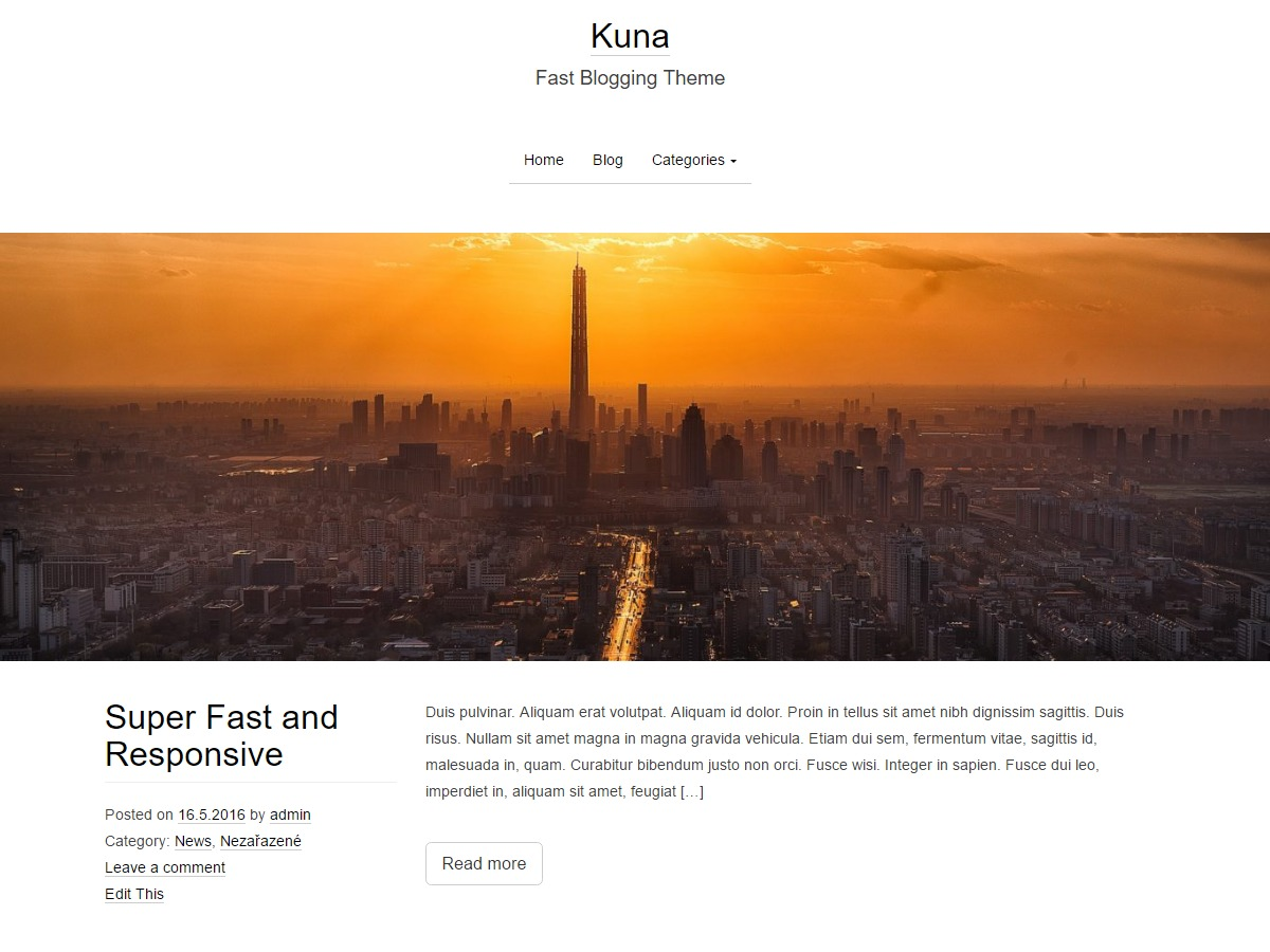 Kuna WordPress blog template