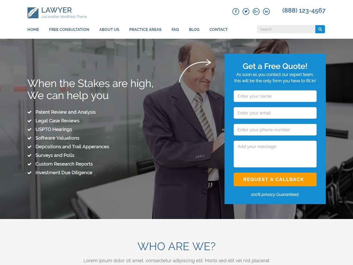 Lawyer Landing Page company WordPress theme