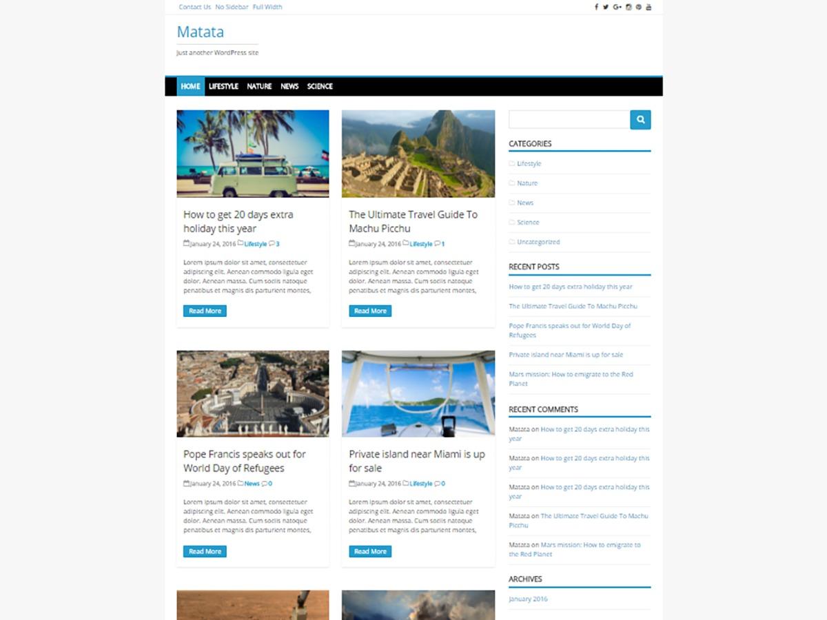 Matata WordPress news template