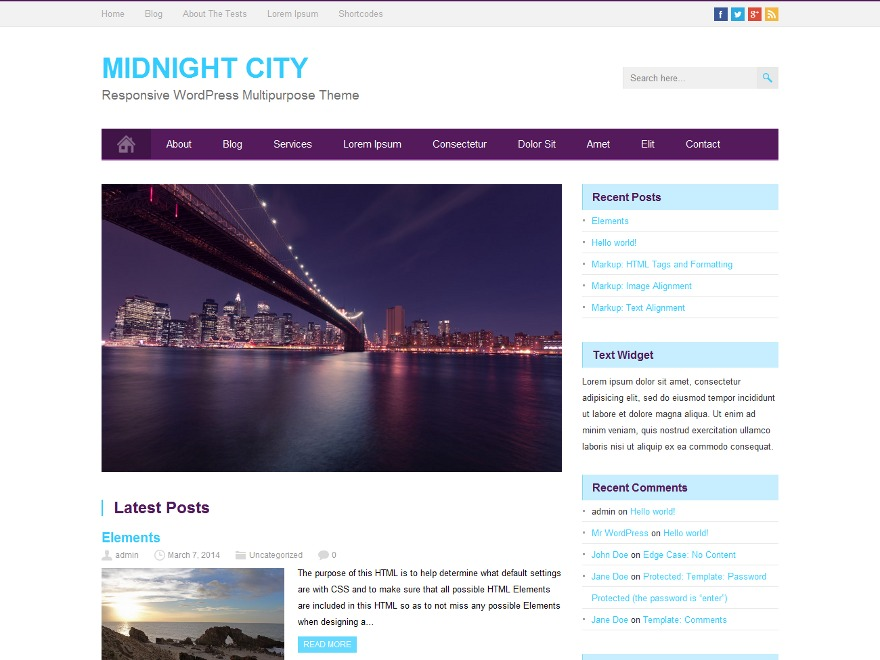 MidnightCity WordPress ecommerce template