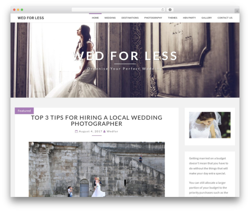 Nisarg best free WordPress theme - wedforless.co.uk