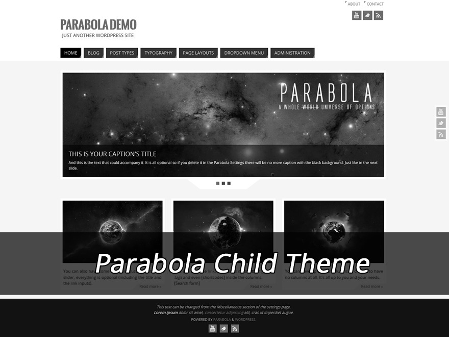 Parabola Child (no copyright link) WordPress website template
