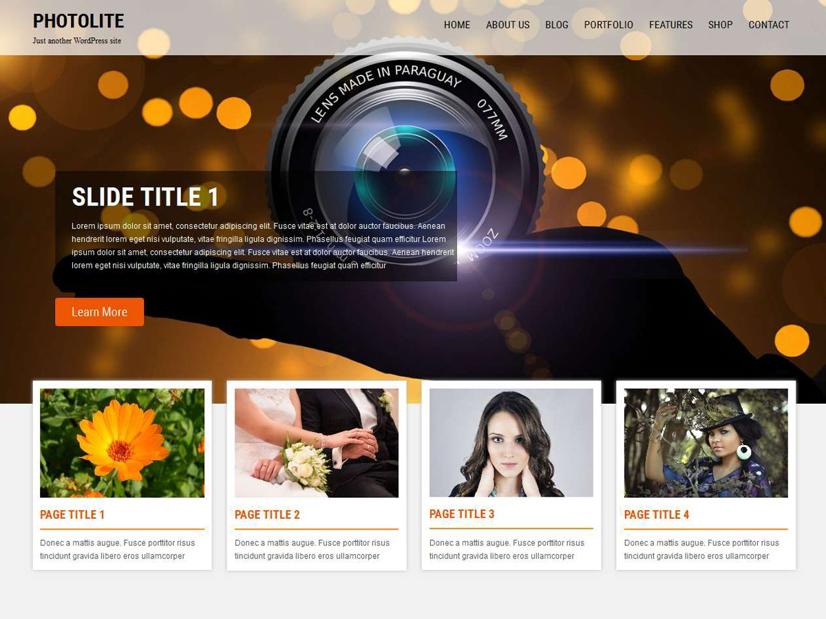Photolite WordPress template free download