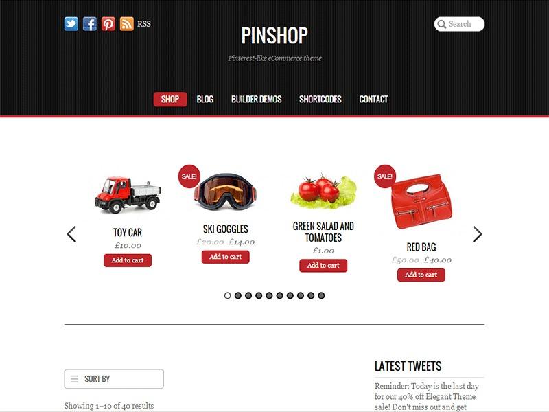 Pinshop WordPress store theme