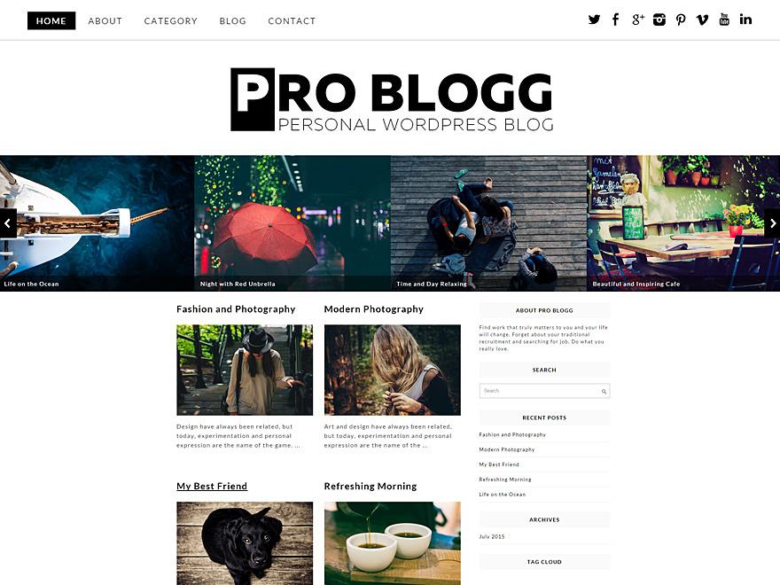 Pro Blogg template WordPress free
